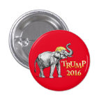 TRUMP 2016 Trumpeting Elephant with Donald's Hair Pinback Button
