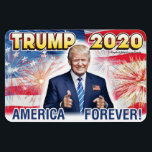 "TRUMP 2020 AMERICA FOREVER Patriotic Car Bumper Magnet<br><div class=""desc"">Re-Elect Trump in 2020! America First! America Forever! Bold! Loud! Beautiful! Place this awesome magnet on any metal surface and instantly express your thoughts and feelings about President Donald Trump!  BUY NOW!!!</div>"