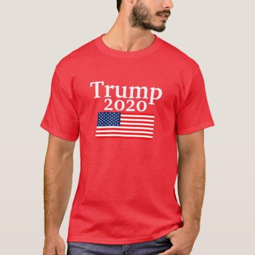 Trump 2020 American Flag Red Donald Trump T_Shirt
