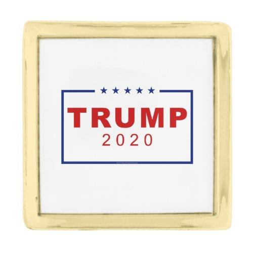 Trump 2020 Classic Rectangle Logo Gold Finish Lapel Pin