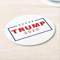 Trump 2020 Classic Rectangle Logo Round Paper Coaster