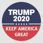 TRUMP 2020 KEEP AMERICA GREAT Patriotic USA First Classic Round Sticker