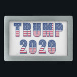 "Trump 2020 rectangular belt buckle<br><div class=""desc"">Trump 2020 stars and stripes, red white and blue popular political design.</div>"