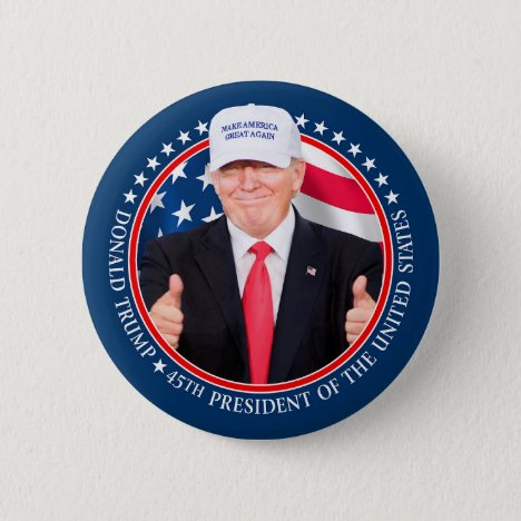 Trump 2020 with MAGA Hat and Thumbs Up Photo Button