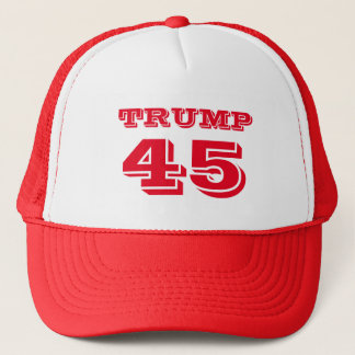 """Trump 45"" President Donald J. Trump in Red Trucker Hat"