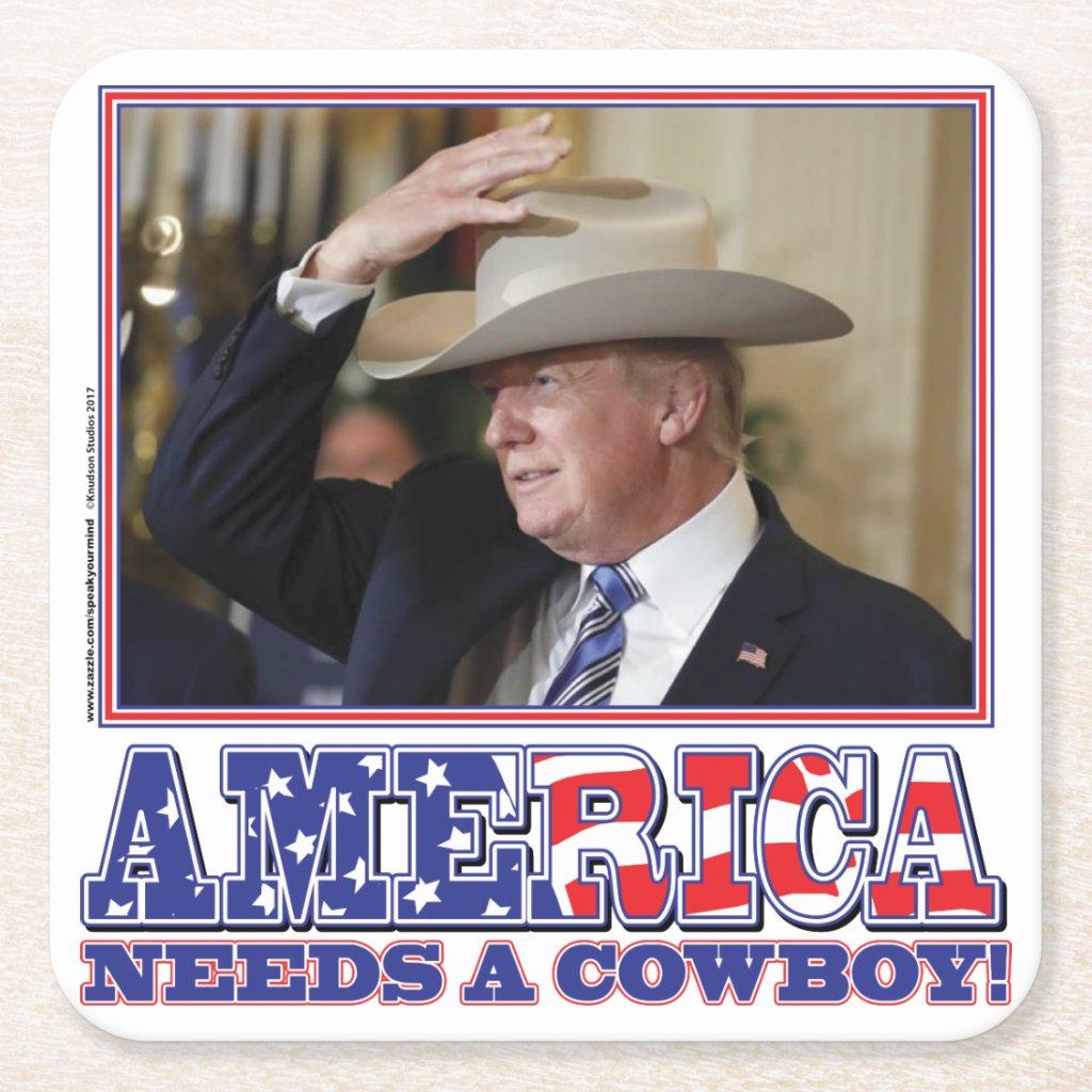 TRUMP-AMERICA-COWBOY SQUARE PAPER COASTER