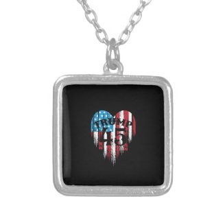 Trump American Flag Heart Silver Plated Necklace