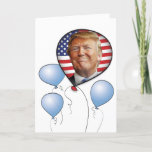 """Trump Birthday Card<br><div class=""""desc"""">Donald Trump&#39;s braggadocious grin graces a patriotic balloon. Inside text reads &quot;YUGE&quot; Birthday Wishes! You can edit the message. Matching gift bag available.</div>"""