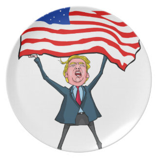 Trump Carrying US Flag with MAGA Text Dinner Plate