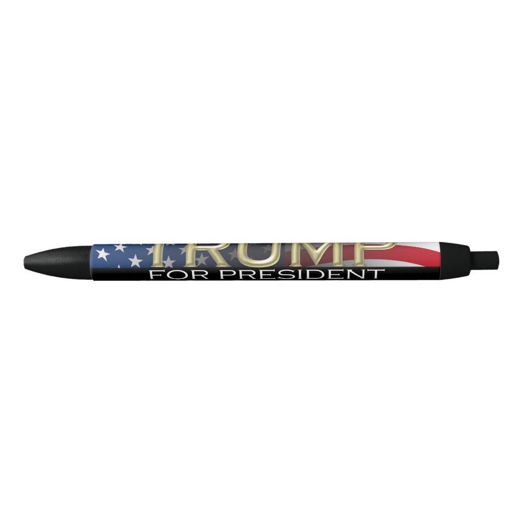 Trump for President 2016 Gold Political Campaign Black Ink Pen