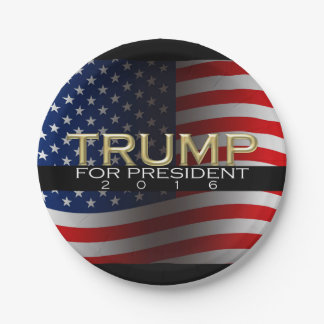 Trump for President 2016 Gold Political Campaign Paper Plate