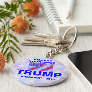 Trump For President 2016 USA American Flag Basic Round Button Keychain