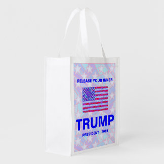Trump For President 2016 USA American Flag Reusable Grocery Bags