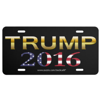 Trump Golden Patriot 2016 license plate (black)