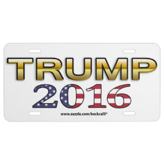Trump Golden Patriot 2016 license plate (white)
