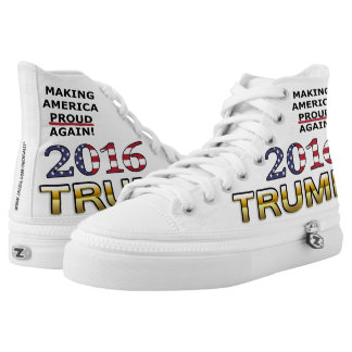 Trump Golden Patriot and Flag 2016 high top shoes