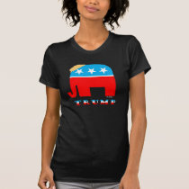 Trump Hair on Red White and Blue GOP Elephant T-Shirt