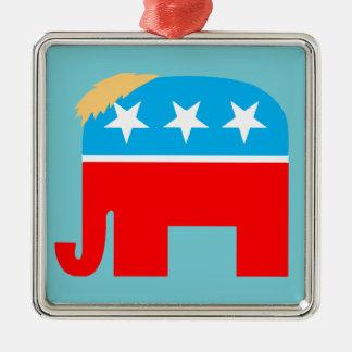Trump Hair Republican GOP Elephant DJT Christmas Metal Ornament