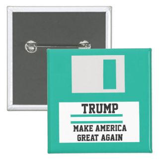 Trump. Make America Great Again. Retro Floppy Disk Button