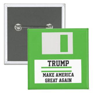 Trump. Make America Great Again. Retro Floppy Disk Pinback Button