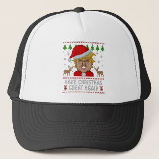 Trump Make Christmas Great Again Ugly Sweater Trucker Hat