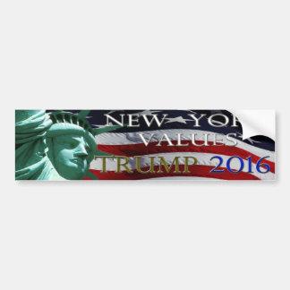 TRUMP NEW YORK VALUES 2016 bumper sticker