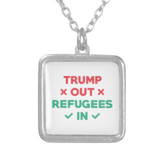 Trump Out Refugees In Silver Plated Necklace