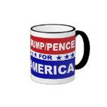 Trump Pence for America red white and blue Ringer Mug