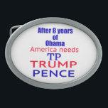"""Trump Pence TP Time 2 Oval Belt Buckle<br><div class=""""desc"""">Trump Pence TP Time 2</div>"""