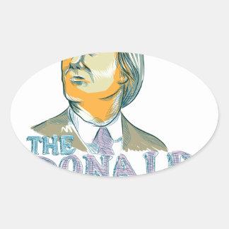 Trump President 2016 Drawing Oval Sticker