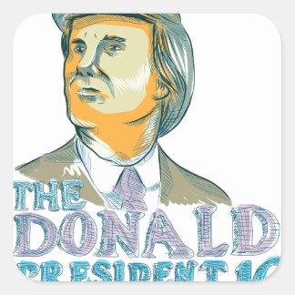 Trump President 2016 Drawing Square Sticker
