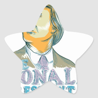 Trump President 2016 Drawing Star Sticker