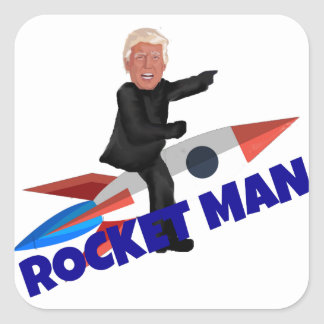 Trump Rides a Rocket Square Sticker