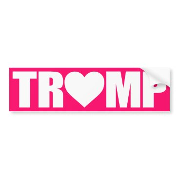 "Valentines Themed ""'TRUMP' SPELLED WITH HEART"" BUMPER STICKER"