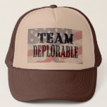 """&quot;Trump supporters&quot; unite with &quot;Team Deplorable&quot; Trucker Hat<br><div class=""""desc"""">Show you &quot;support for Donald Trump&quot; and use &quot;Hillary Clinton&#39;s&quot; own quote &quot;Basket of deplorables&quot; to stand up united with this &quot;team deplorable&quot; design.  What a &quot;presidential debate&quot;.</div>"""