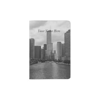 Trump Tower Chicago River Grayscale Passport Holder