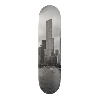 Trump Tower Chicago River Grayscale Skateboard Deck