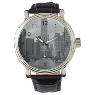 Trump Tower Chicago River Grayscale Wrist Watch