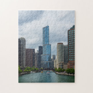 Trump Tower Chicago River Jigsaw Puzzle