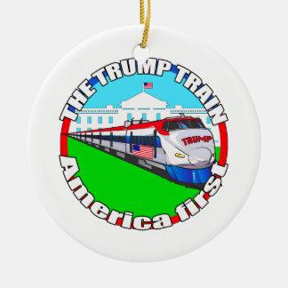 Trump Train America first Ceramic Ornament
