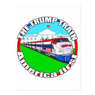 Trump Train America first Postcard