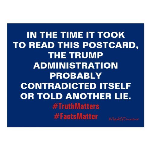 Trump Truth Matters Facts Matter Resist Postcard