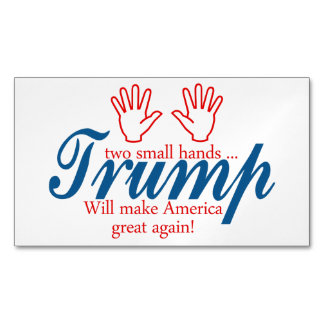Trump, two small hands magnetic business card
