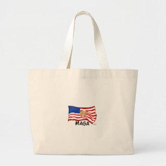 TRUMP US FLAG MAGA LARGE TOTE BAG