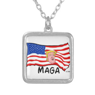 TRUMP US FLAG MAGA SILVER PLATED NECKLACE