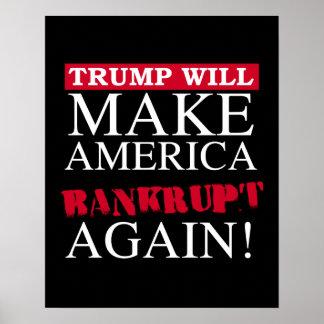 Trump Will Make America Bankrupt Again - Anti-Trum Poster