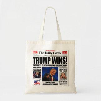 Trump Wins! Funny Anti Clinton Newspaper Satire Tote Bag