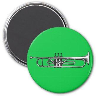 Trumpet 3 Inch Round Magnet