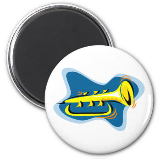 Trumpet Abstract Design Yellow with blue Refrigerator Magnet