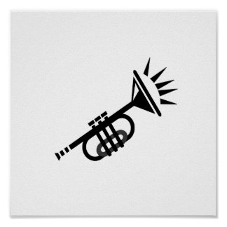 trumpet abstract with spikes black.png poster